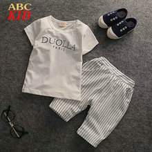 Summer Baby Boys Clothing Sets Casual Shirt + Stripes Short Pants Soft Tracksuit Roupas Infantis Sport suits KD238