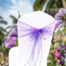 25 шт. органза лента с бантом для стула для приморского свадьбы банты из органзы мероприятия Свадебная вечеринка поставка домашний текстиль DIY органза ткань