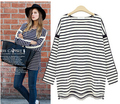 Autumn round collar outfit  stripe  Europe fat MM women  t shirt long bat  sleeve loose fashion  chiffon female  t shirt