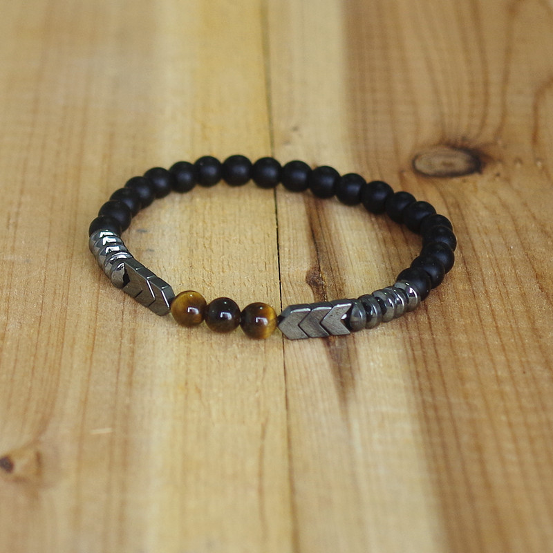 Trendy Natural Matte Black Onyx Tiger Eye Beads Strand Bracelet Arrow Hematite Stone Bracelet Men Best Gift Buddha Jewelry