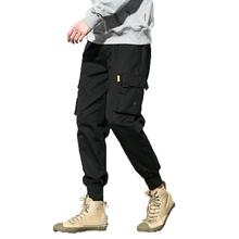 Bawełniane męskie Jogger ołówkowe spodnie haremki 2019 mężczyźni bojówki wojskowe cargo luźne Hip hop elastyczne spodnie do biegania męskie spodnie M-5xl tanie tanio Pełnej długości Mieszkanie Cargo pants Kieszenie Poliester COTTON Oxford 20180301 FAVOCENT Zipper fly Midweight Kostki długości spodnie