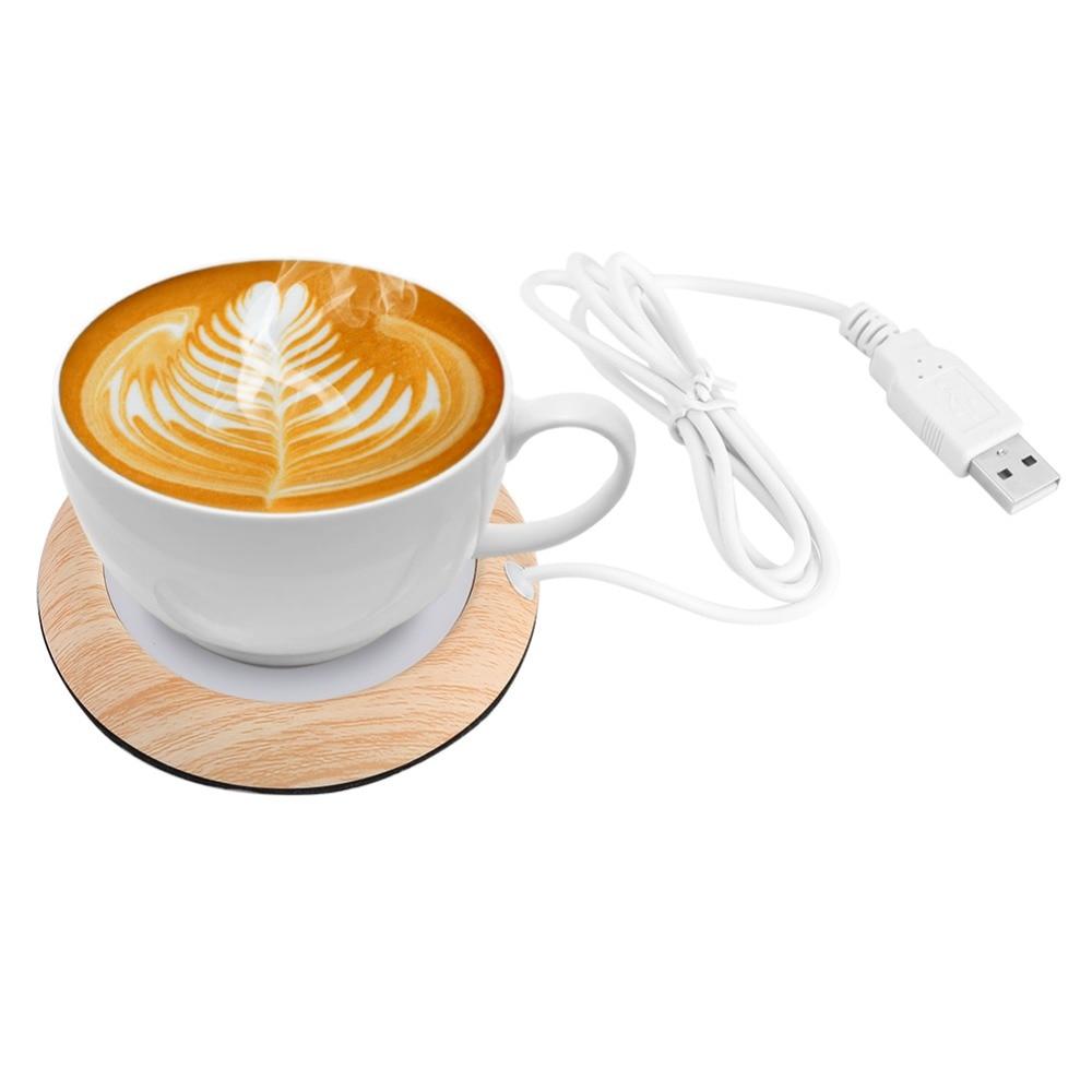 Protable Usb Wood Grain Cup Warmer Heat Beverage Mug Mat