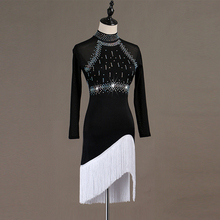 Backless sexy Latin dance competition dress performance dress high collar fringe dress for adults fringe cami dress