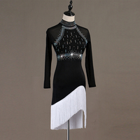 Backless sexy Latin dance competition dress performance dress high collar fringe dress for adults