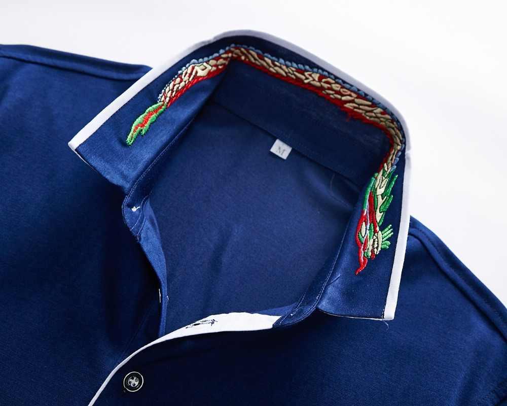 2019 高品質夏カミーサポロシャツ男性刺繍スリムフィットプラスサイズ XXXL ブランド服ビジネスカジュアルシャツ