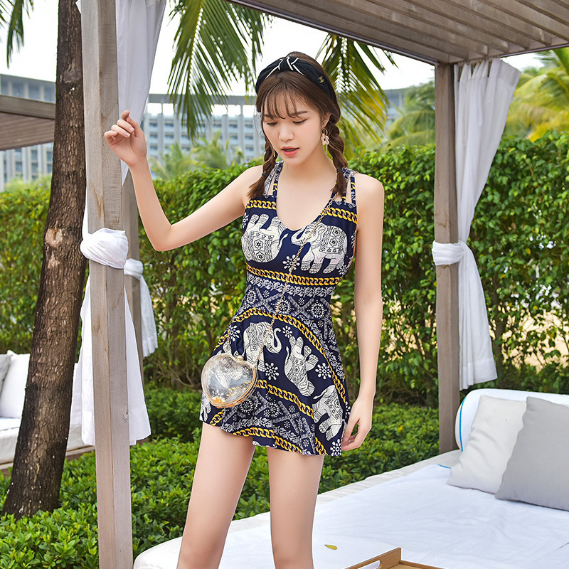 Swimwear Large Size One Piece Swimsuit Bathing Suit Women Clothes 1 Woman 2018 New Korean Female Pants High Waist Skirt Cover 2017 new plus size bathing suit one piece swimsuit white black plaid swimwear large size beachwear high waist halter monokini
