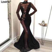 Иллюзия с длинным рукавом платья знаменитостей красная ковровая дорожка платья Русалка с высоким воротом без спинки vestido de festa с цветами