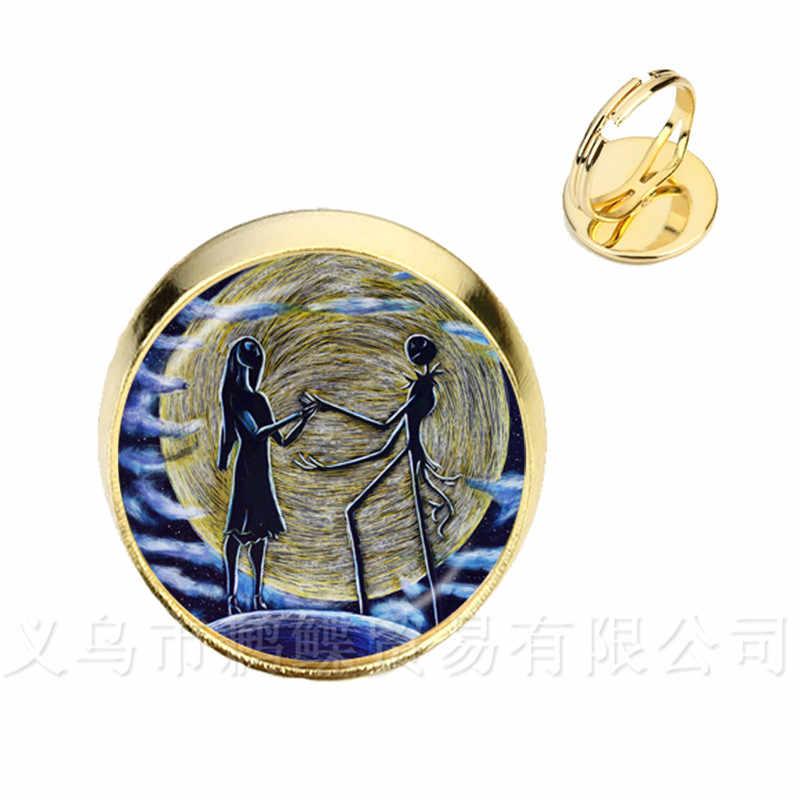Nuevo clásico Jack y Sally anillos ajustables plateado/dorado 2 colores cristal Domo anillo para regalos de fiesta de Halloween