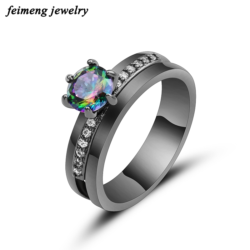 2018 New Fashion Jewelry Women Wedding Rainbow Opal Rings Colorful CZ Black Gold Filled Engagement Ring Valentine's Day Gifts