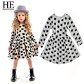 HE Hello Enjoy girl dress 2016 Autumn girls clothes dress girls spring princess dress Long sleeve dot dress robe fille enfant