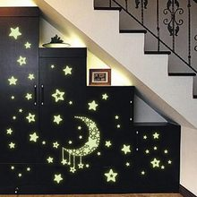 IVYSHION DIY Wall Stickers Kids Room Wallpaper Luminescence Moon Stars Room Decor Removable Stickers Luminous Posted Stickers(China)