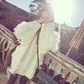 2017 moda outono inverno pullovers gola de pele de raposa azul escuro branco malhas soltas mulheres camisola oversize