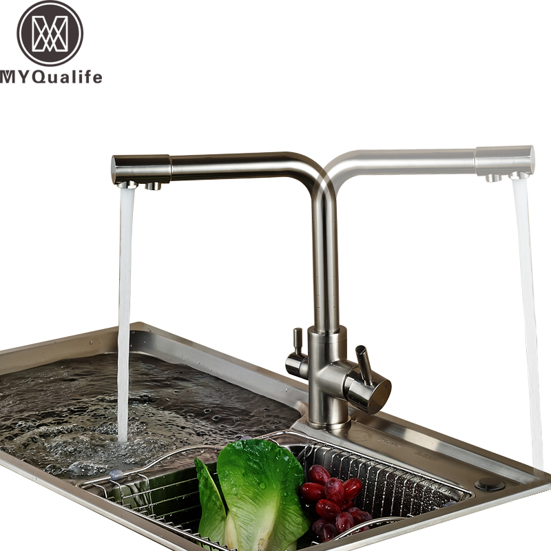 Brand NEW Kitchen Sink Faucet Pure Water Filter Drink Mixer Tap Dual Handles Two Spout Brushed Nickel Finish us free shipping dual handles kitchen mixer tap faucet pure water filter chrome finish