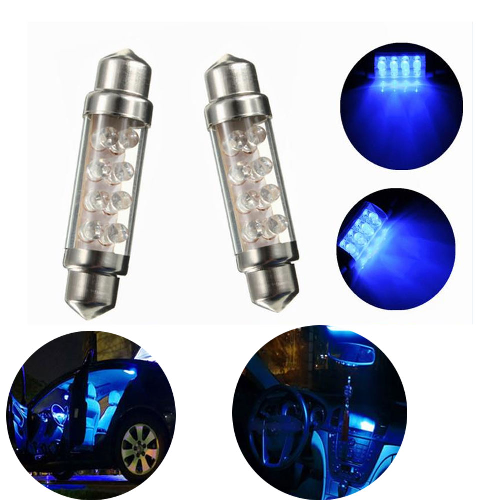 Vehemo 42mm 8 LED Blue Auto Car Light Dome Festoon Bulb
