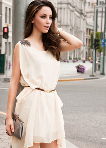 C583 New Arrival 2015 Fashion HOT SALE Europe Style Lady Vest Sleeveless Asymmetric Hem White Dress, Women's  Summer dresses