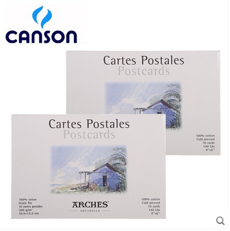 Freeshipping canson 100% cotton watercolor paper set card watercolor DIY gift Postcard professional student 10P artlam canson student 50 3