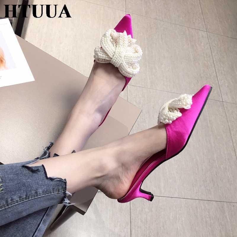 HTUUA tasarımcı inci yay katır topuklu kadın terlik yaz slaytlar bayanlar ayakkabı sivri burun kadın terlik mokasen katır SX2807