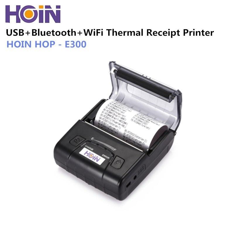 Imprimante thermique HOIN HOP-E300 80mm imprimante thermique USB/Bluetooth/WiFi imprimante de reçus de caisse thermique 2500 mAh imprimante Li-ion
