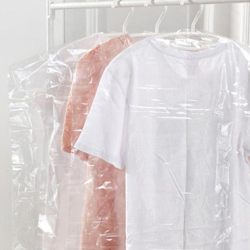 Hot Clothes Dust Cover Coat Suit Dust Bag Transparent Plastic Dust Cover Dry Cleaner Disposable Coat Wardrobe Storage Bags