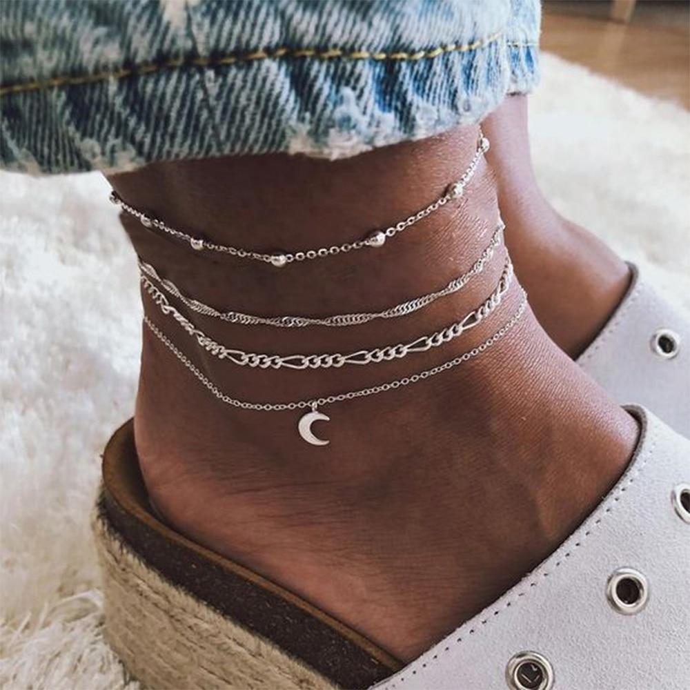 EN Vintage Silver Color Moon Pendant Anklet Set for Women Adjustable Charming Multilayer Foot Chains Anklet Tobillera