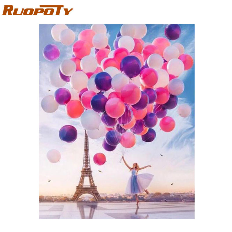 RUOPOTY Frame Diy Painting By Numbers Romantic Balloon Acrylic Wall Art Picture By Numbers Canvas Painting For Home Decoration