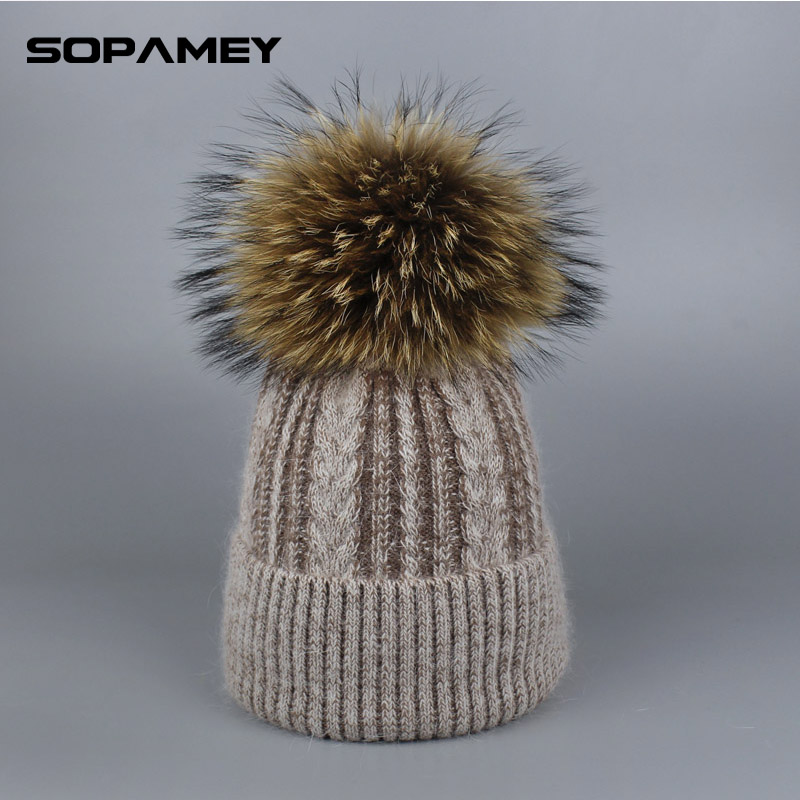 Pompoms Fur Knitted Winter Hats For Women Pompoms Beanies Thick Winter Hats Natural Rabbit Fur Female Beanies Caps Warm Hat 2017 velvet thick keep warm winter hat for women rabbit fur knitted beanies ladies female fashion skullies elegant hats for women