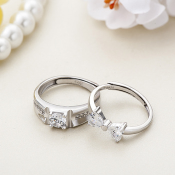Sterling Silver Cubic Zirconia Couples Ring Set 3