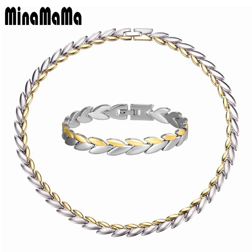 Stainless Steel Jewelry New Fashion Leaf Design Gold Color Chain Necklace/Bracelet Jewelry Sets For Women Valentine's Day Gift emanco stainless steel jewelry femme rose gold color link chain necklace with cute pendants simple brand design fashion jewelry
