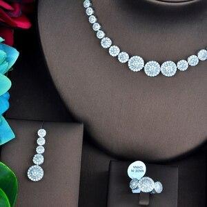 Image 2 - Ensemble de bijoux, rond, pavé de mode pour femmes, ensemble de bijoux, collier, boucle doreille, accessoires de fête, nouvelle collection N 742