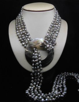 "Free shipping shitou 001283 32"" Natural 4- Row 5-6MM AAA Silver_Gray Baroque pearl Necklace"