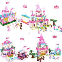 Gran Villa bloques de construcción Elsa Anna DIY juguetes educativos casa modelos compatibles todos los ladrillos juguetes para niños