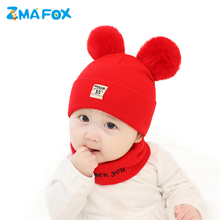ZMAFOX beanie hat for newborn baby boy girl head neck warmer thermal beanies cap 2 pompoms toddlers infant hats scarf suit 0-12M