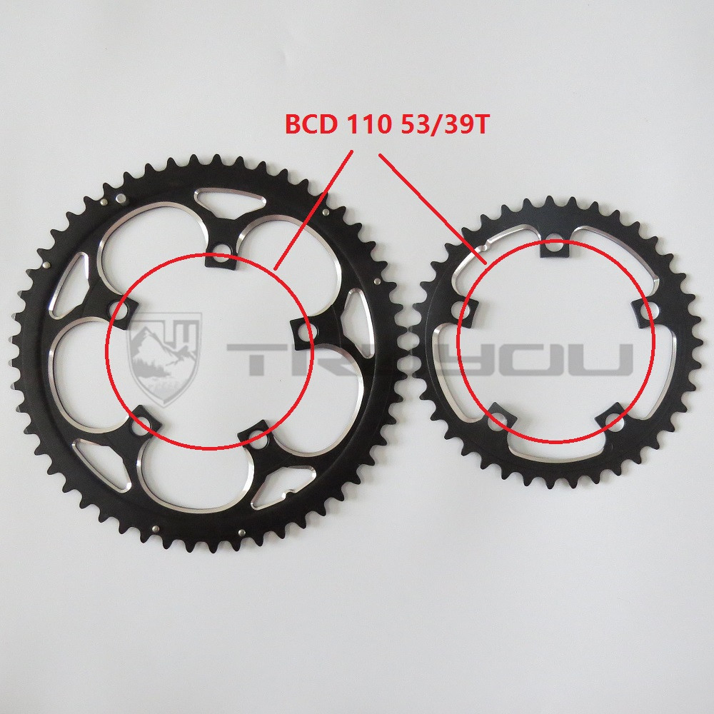 TRUYOU Road Bicycle Chain Wheel BCD 110 53T 39T Double Disc Black Chainwheel Folding Bike Chainring Alloy 2*7/8/9 Speed CNC 3/32