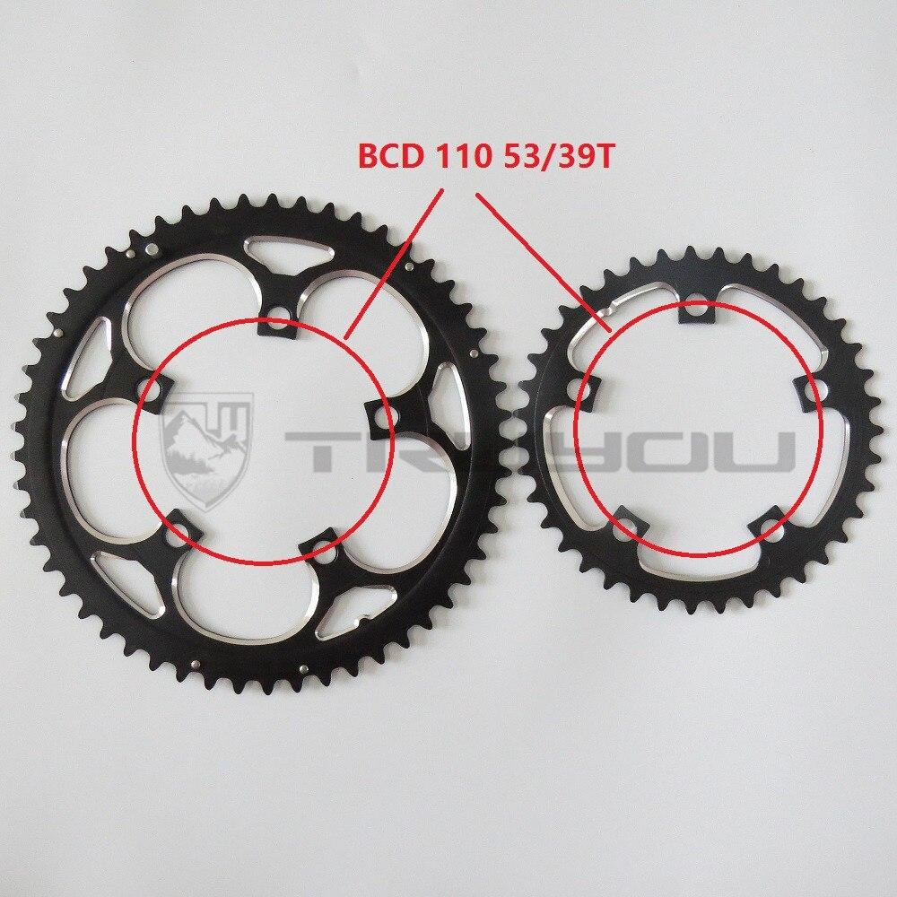 TRUYOU route vélo roue à chaîne BCD 110 53T 39T Double disque noir roue à chaîne pliant vélo chaîne alliage 2*7/8/9 vitesse CNC 3/32