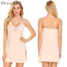 Ekouaer Women Nightgown Sexy Lingerie Sleepwear V-Neck Lace Patchwork Sleeveless Chemise Sleepshirt Nightdress Homewear