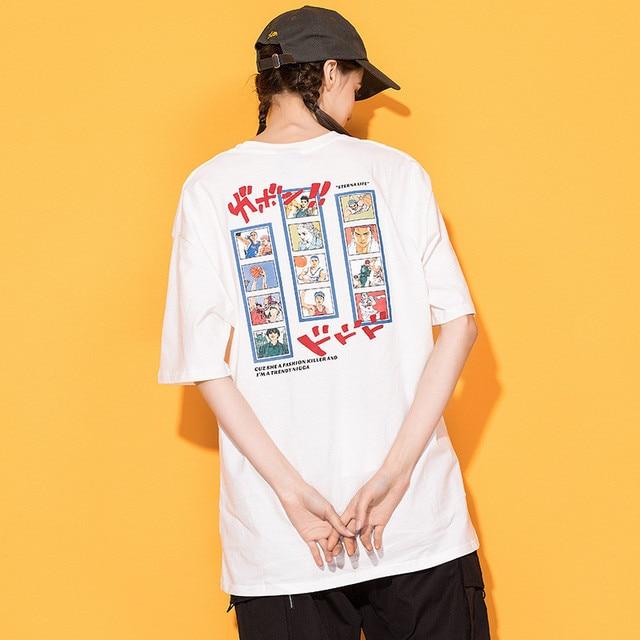 7bf4cc829c45 Japanese Harajuku Anime Slam Dunk Printed T Shirt for Women Urban Girl  Streetwear Hip Hop Casual Cotton Graphic Tees Oversized