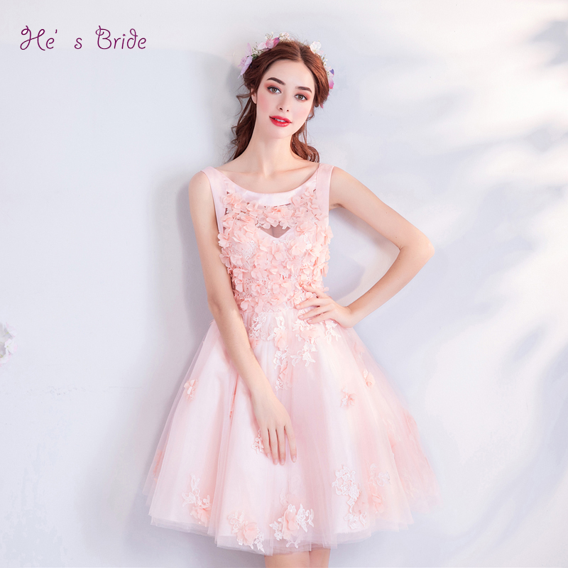 Sunny Hes Bride Pink New Elegant Sweet Cocktail Dress Scoop Appliques Sleeveless Ball Gown Flowers Above Knee Party Formal Vestidos Weddings & Events