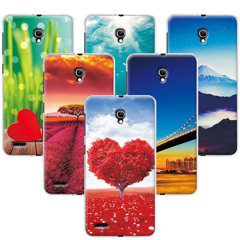 Scenery Phone Cases For Alcatel One Touch Pop 2 7043 <font><b>7043Y</b></font> 7044 Soft TPU Back Cover For Alcatel Pop 2 (5.0