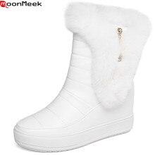 MoonMeek fashion winter new arrive women boots round toe zip