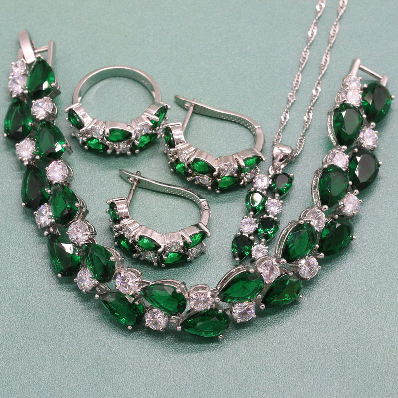 Classic Water Drop Green Stone 925 Sterling Silver Female Jewelry Sets for Women Necklace Ring Clip Earrings Bracelet Free Box a suit of chic faux ruby water drop necklace ring bracelet and earrings for women
