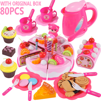 DIY Girls Toy Pretend Play Fruit Cutting Birthday Cake Kitchen Food Toys Cocina De Juguete Toy for Children With Original Box 38 80pcs diy pretend play fruit cutting birthday cake kitchen food toys cocina de juguete toy children girls christmas gift toys