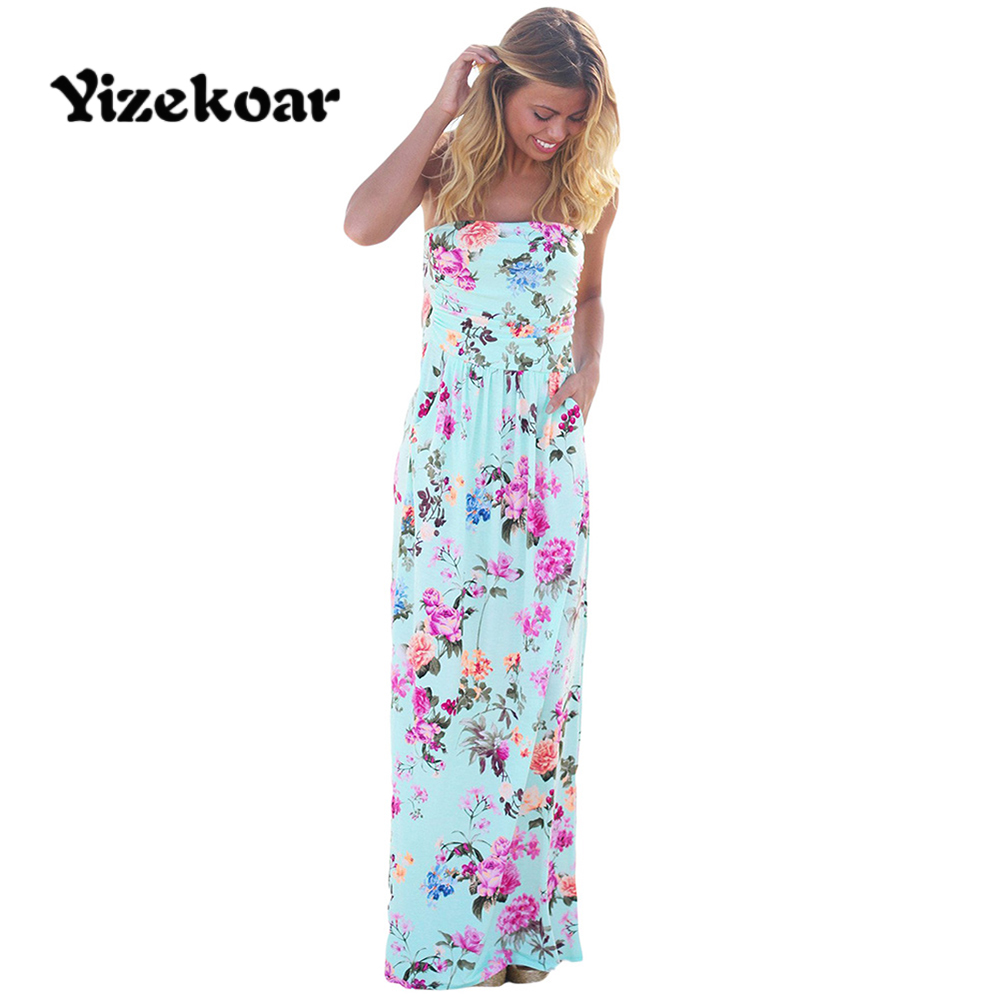 Yizekoar 2017 Summer New Sexy Bohemian Style Women Plus Size Dresses Off Shoulder Geometric Strapless Maxi Dress with Pockets