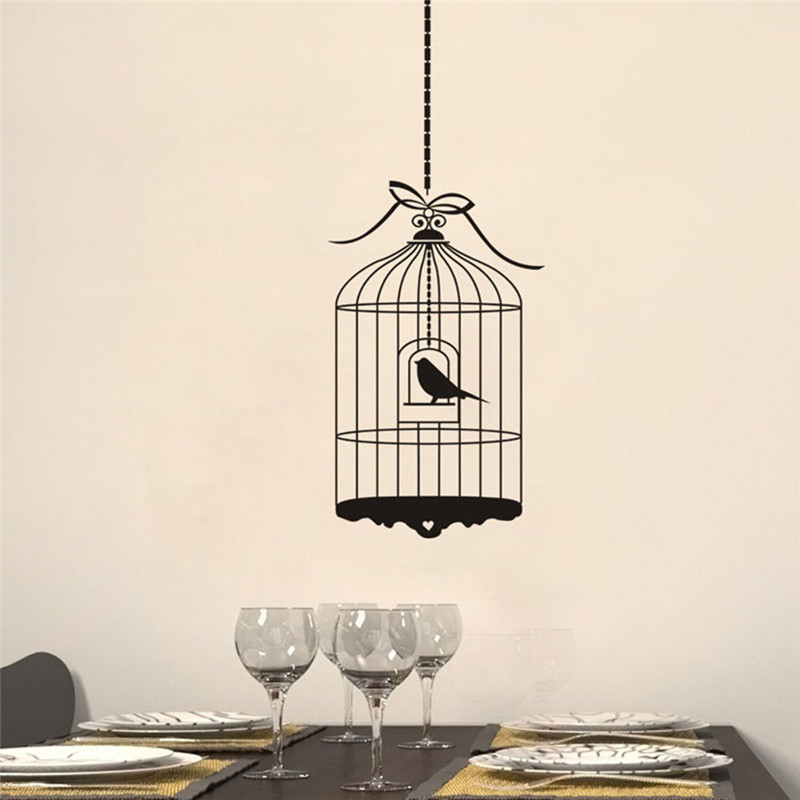 1pcs Simple Style Bird Cage Wall Stickers Black Birdcage Wall Sticker for Children's Room Home Decor Wall Art 50*70cm