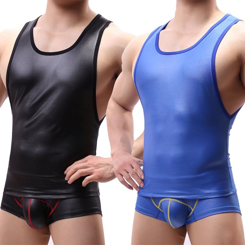 Men's PU Leather Tank Tops + Big Pouch Boxer Shorts Fitness Male Suits Gay Sexy Party Clubwear Stage Dance Undershirts Underwear