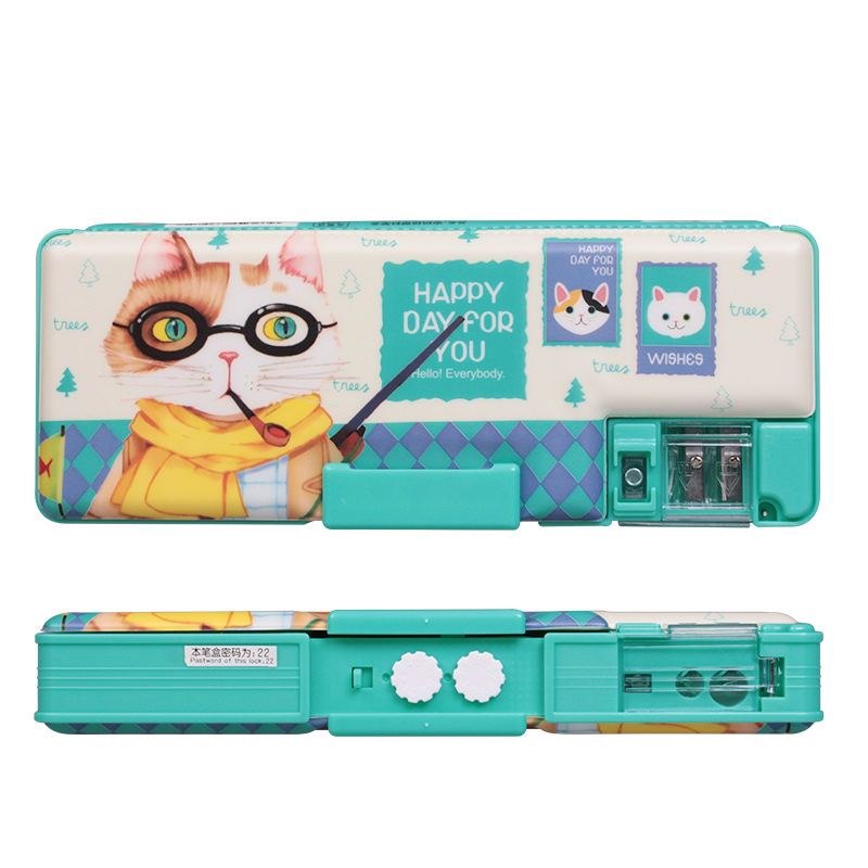 China Factory Direct Sales of Refined Simplicity Creative ouble Password Pencil box 23*9*3.5(cm) 120g Plastic New Transparent