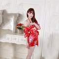 New 2016 Fashion Sexy Pyjamas Women Dress Red Bathrobe Dresses Evening Summer V-neck Nightdress