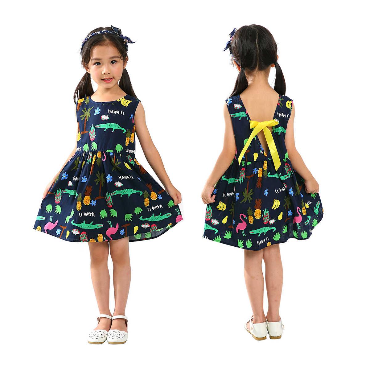 2019 Crianças Menina Vestido Sem Mangas Prined 1-7 T Menina do Verão Flor de Algodão Vestido de Princesa Vestido Estampado Floral Deslizamento vestidos de Roupa Do Miúdo