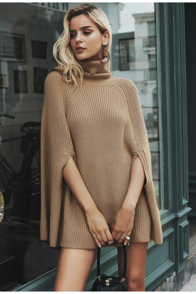 Women Knitted turtleneck cloak sweater 19
