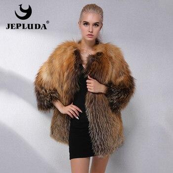 6726483a0 JEPLUDA moda oferta abrigo de piel de zorro Real ropa de mujer abrigo de  piel Natural