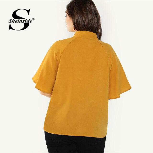 Sheinside Plus Size Elegant Bow Tie Neck Blouse Women 2019 Summer Raglan Sleeve Chiffon Blouses Ladies Stand Collar Solid Top 1